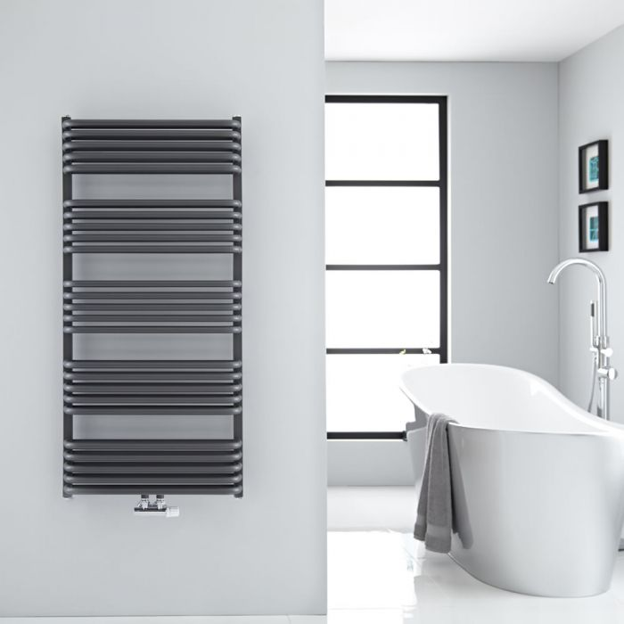 Milano Bow - Anthracite D-Bar Central Connection Heated Towel Rail - 1269mm x 600mm