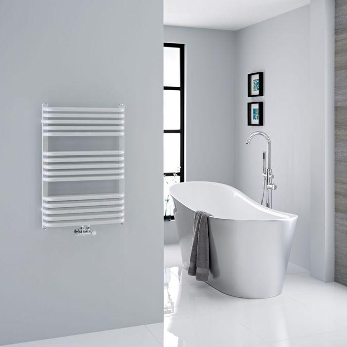Milano Bow - White D-Bar Heated Towel Rail - 736mm x 500mm