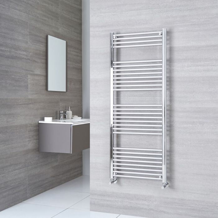 Milano Ribble - Chrome Flat Heated Towel Rail - 1500mm x 500mm