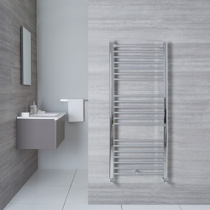 Milano Eco - Chrome Flat Heated Towel Rail - 1400mm x 500mm