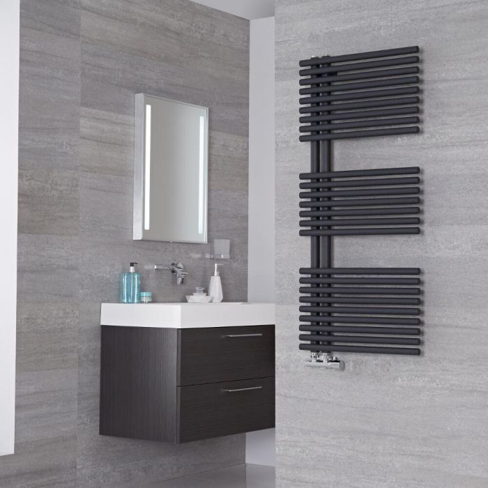 Lazzarini Way Bari - Anthracite Designer Heated Towel Rail - 1120mm x 500mm