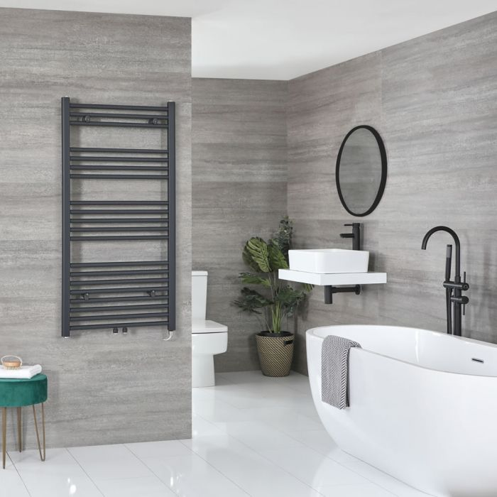 Milano Neva Electric - Anthracite Heated Towel Rail - 1188mm x 500mm
