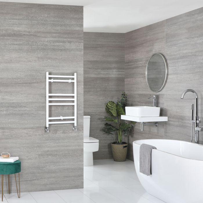 Milano Ive - White Flat Heated Towel Rail - 600mm x 400mm