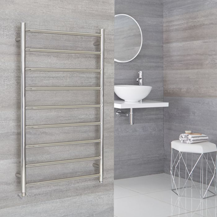 Milano Esk Electric - Stainless Steel Flat Heated Towel Rail - 600mm x 1000mm