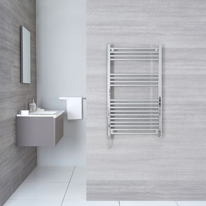 Kudox Ladder Electric - Chrome Flat Standard Heated Towel Rail - 500mm x 1000mm