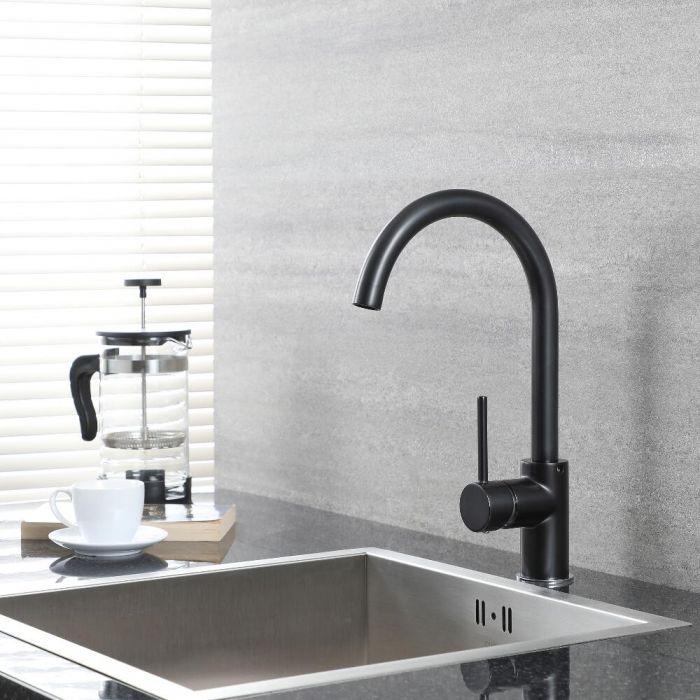 Milano Nero - Modern Deck Mounted Kitchen Mixer Tap with Swivel Spout - Black