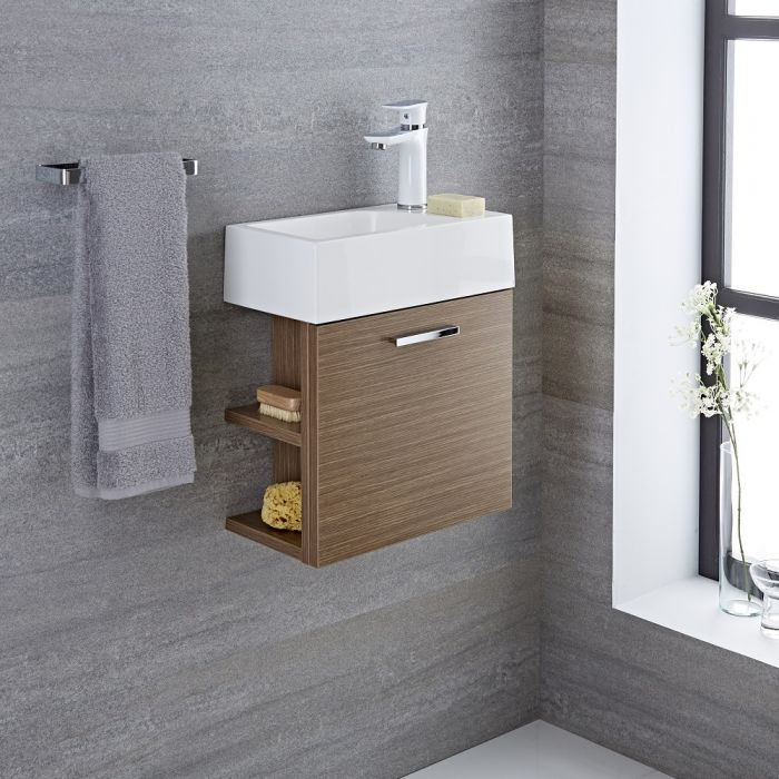 Milano Linley - Oak 400mm Cloakroom Wall Hung Vanity Unit with Basin