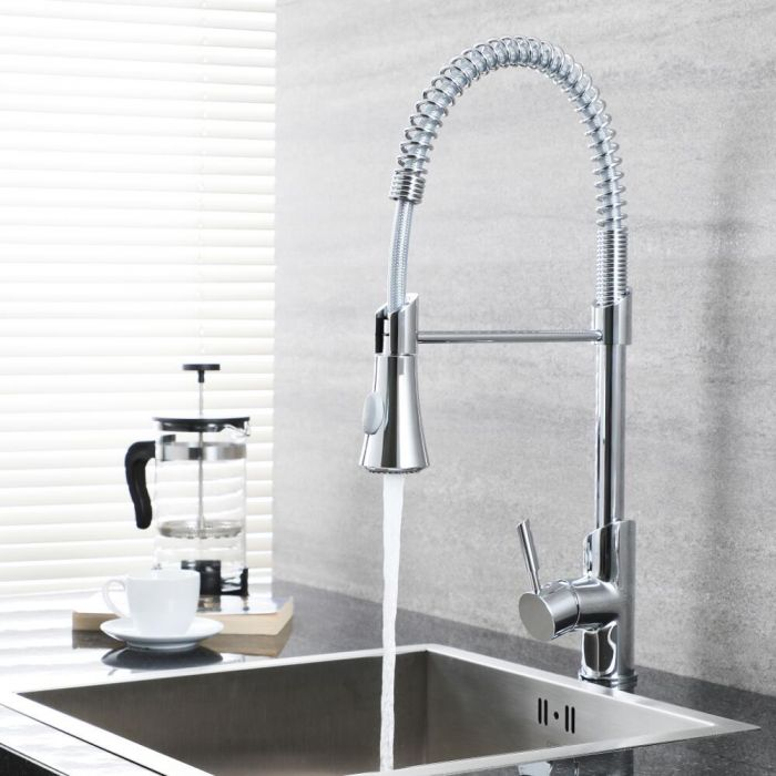 Milano Mirage - Modern Deck Mounted Pull Down Spray Kitchen Tap - Chrome
