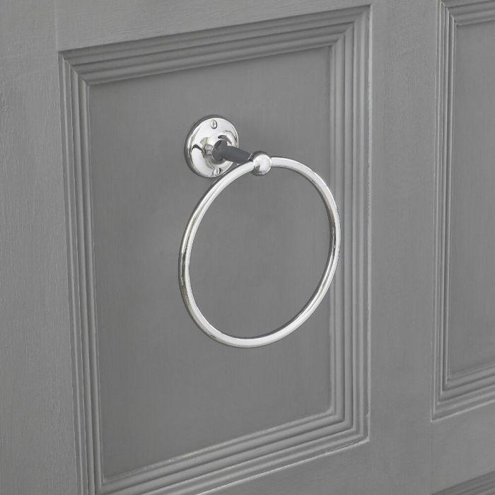 Milano Elizabeth - Traditional Towel Ring Holder - Chrome