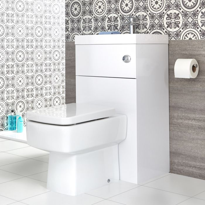 Milano Lurus - White Modern Square Toilet and Basin Combination Unit - 500mm x 890mm