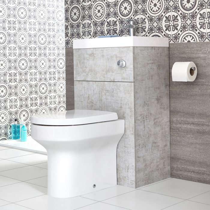 Milano Lurus - Concrete Grey Modern Ballam Toilet and Basin Combination Unit - 500mm x 890mm