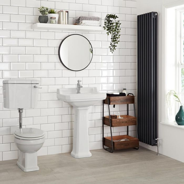 Milano Richmond - White Traditional Round Floor Standing Toilet Pan with Low Level Cistern and Wooden Seat