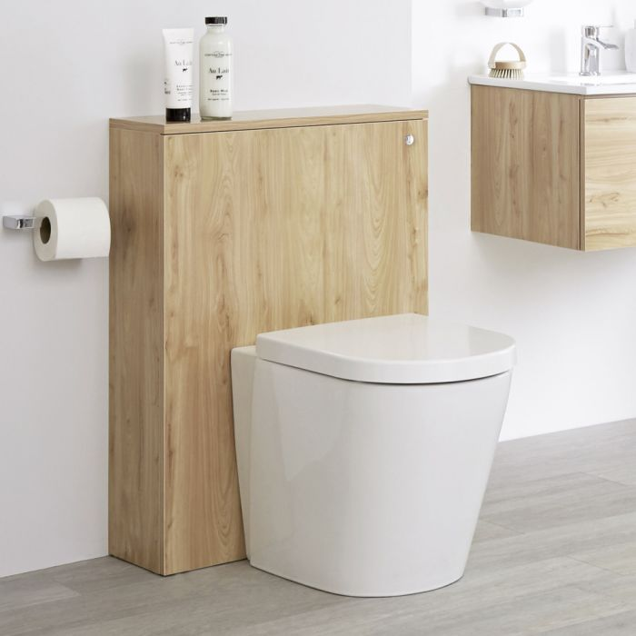 Milano Oxley - Golden Oak 600mm WC Unit with Back to Wall Toilet