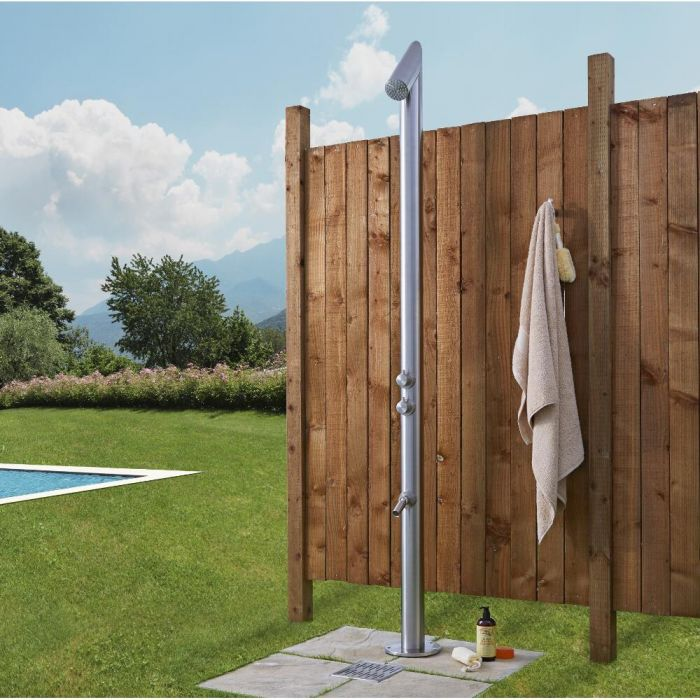 Milano Vigo - Brushed Steel Outdoor Shower with Shower Head and Foot Spout (2 Outlet)