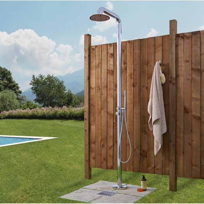 Milano Sevilla - Chrome Outdoor Shower with Shower Head and Hand Shower (2 Outlet)