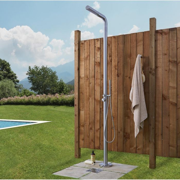 Milano Lugo - Brushed Steel Outdoor Shower with Shower Head and Hand Shower (2 Outlet)