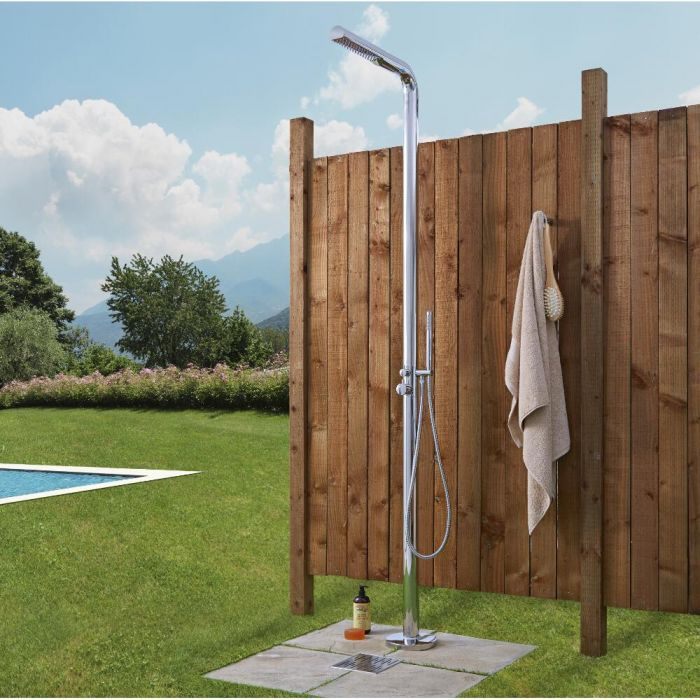 Milano Lugo - Chrome Outdoor Shower with Shower Head and Hand Shower (2 Outlet)