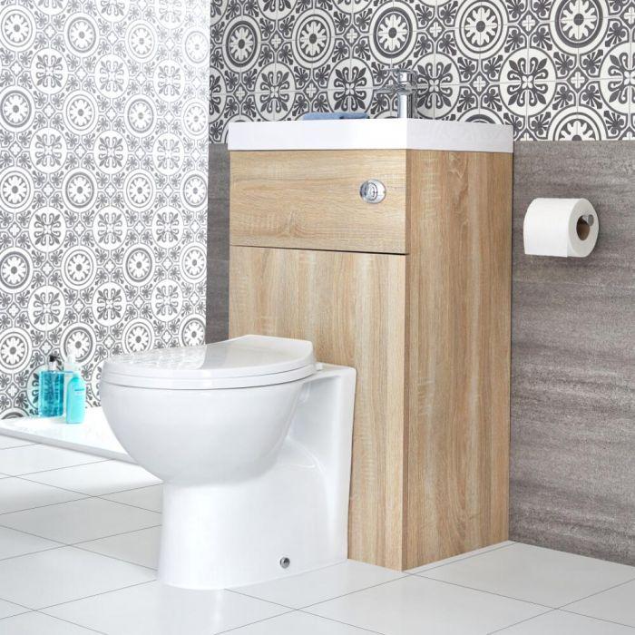 Milano Lurus - Oak Modern Select Toilet and Basin Combination Unit - 500mm x 890mm