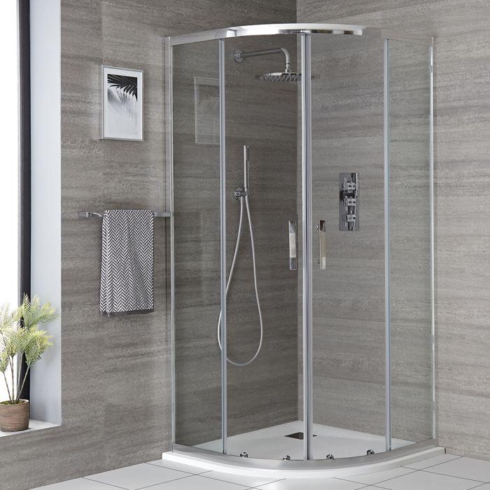 Milano Portland - 900mm Quadrant Shower Enclosure with Slate Tray - Choice of Tray Finish