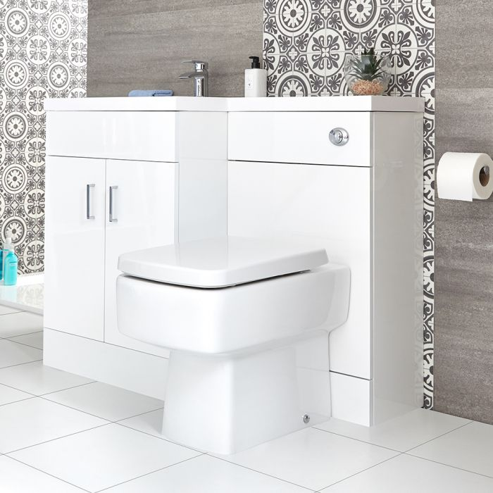 Milano Ren - White Modern Left-Hand Vanity and WC Combination Unit with Farington Toilet and Cistern