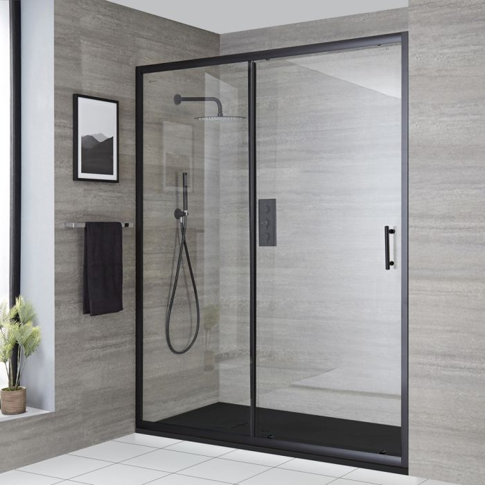 Milano Nero - Recessed Black Sliding Shower Door with Slate Tray - Choice of Sizes