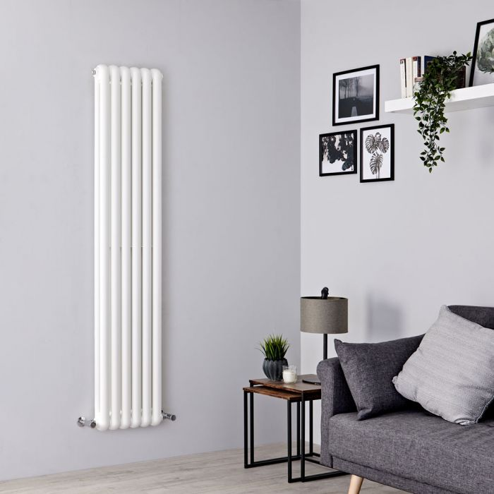 Milano Urban - White Vertical Column Radiator - 1800mm x 383mm (Double Column)