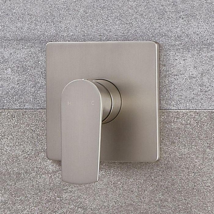 Milano Hunston - Modern Manual Shower Valve - One Outlet - Brushed Nickel