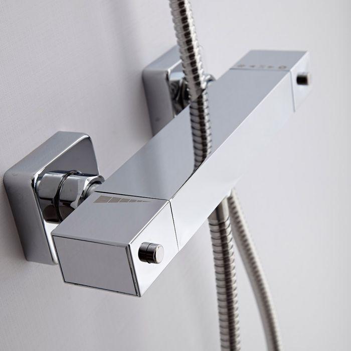 Milano Arvo - Square Thermostatic Bar Shower Mixer Valve - Bottom Outlet