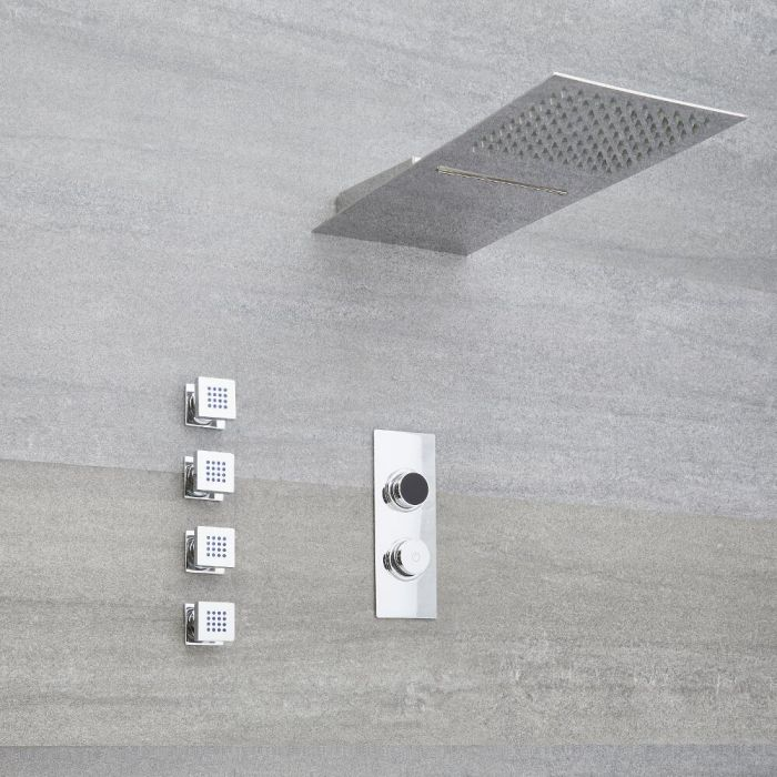 Milano Vis - Chrome Thermostatic Digital Shower with Waterblade Shower Head and Body Jets (3 Outlet)