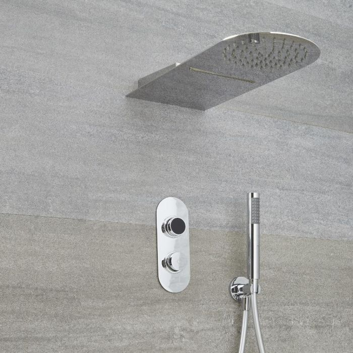 Milano Vis - Chrome Thermostatic Digital Shower with Waterblade Shower Head and Hand Shower (3 Outlet)