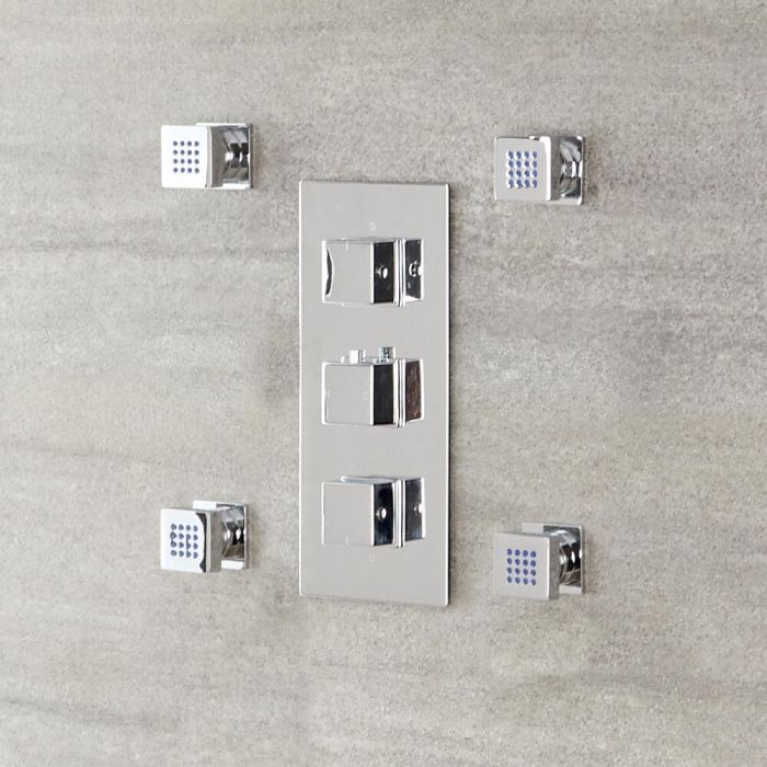 Milano Arvo - Modern Front Fix Pack of 4 Square Body Jets - Chrome