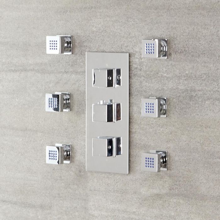 Milano Arvo - Modern Front Fix Pack of 6 Square Body Jets - Chrome