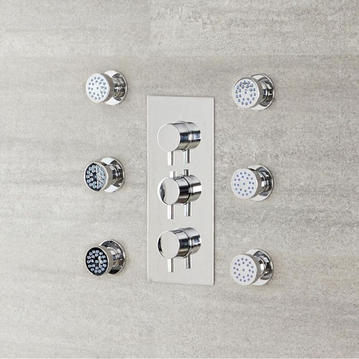 Milano Mirage - Modern Front Fix Pack of 6 Round Body Jets - Chrome