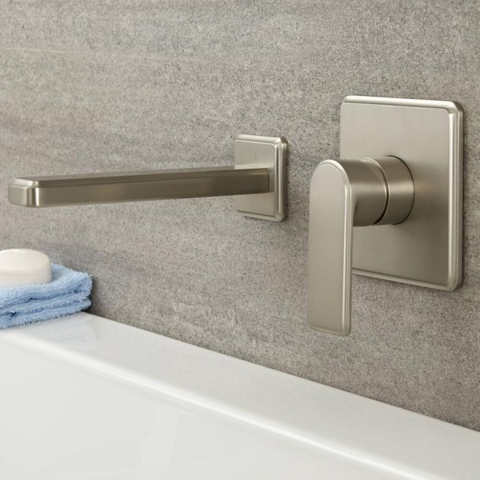 Milano Ashurst - Modern Wall Mounted Basin or Bath Mixer Tap - Brushed Nickel