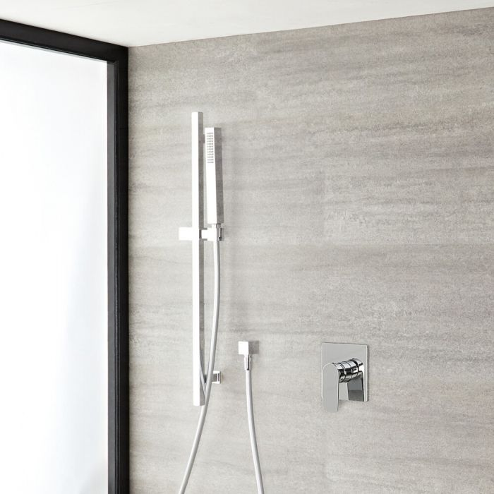 Milano Hunston - Chrome Shower with Rectangular Hand Shower and Riser Rail (1 Outlet)