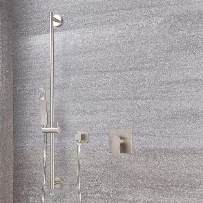 Milano Hunston - Brushed Nickel Shower with Square Hand Shower and Riser Rail (1 Outlet)