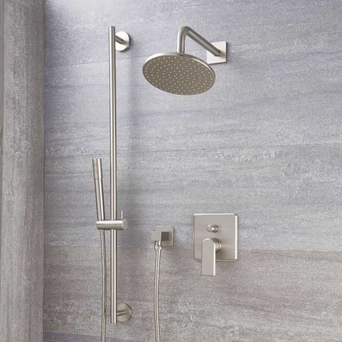 Milano Ashurst - Brushed Nickel Shower with Diverter, Shower Head, Hand Shower and Riser Rail (2 Outlet)