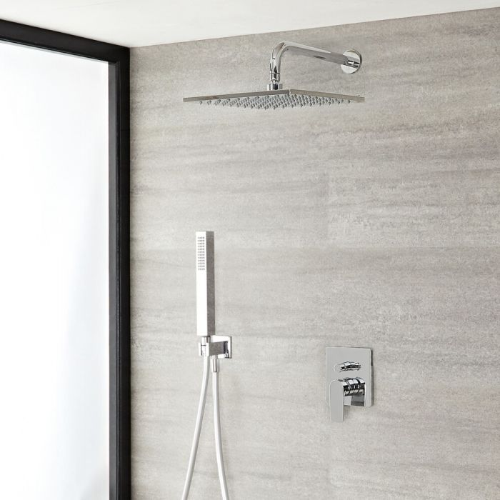 Milano Hunston - Chrome Shower with Diverter, Shower Head and Hand Shower (2 Outlet)