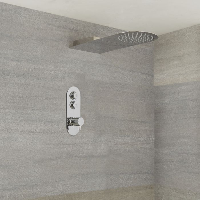 Milano Orta - Chrome Thermostatic Shower with Waterblade Shower Head (2 Outlet)