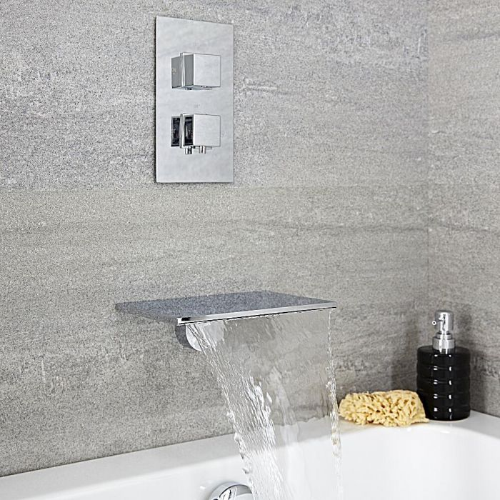 Milano Blade - Modern Wall Mounted Waterfall Bath Filler and Square Concealed Thermostatic Valve