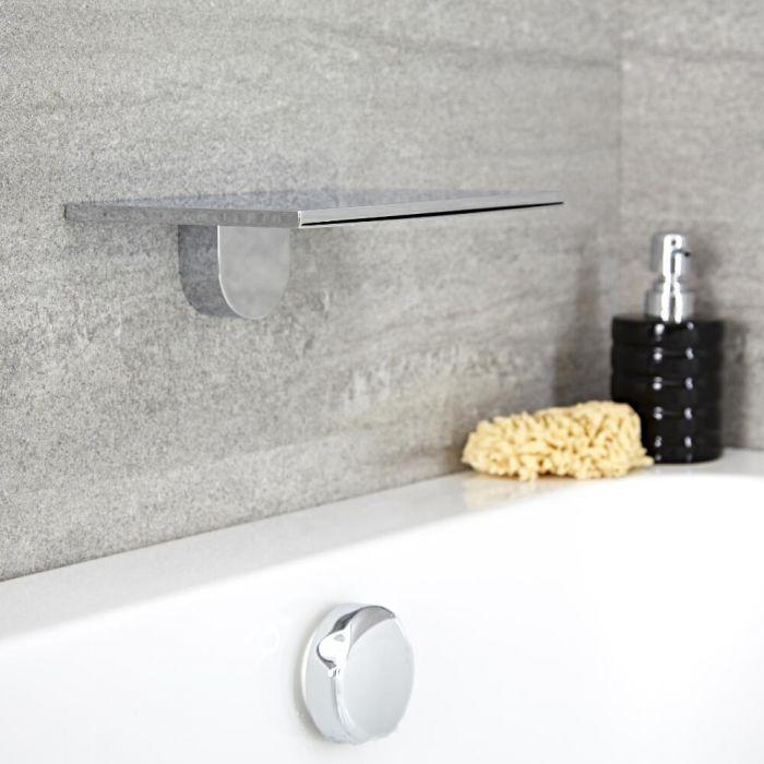 Milano Blade - Modern Wall Mounted Waterfall Bath Filler / Shower Head - Chrome
