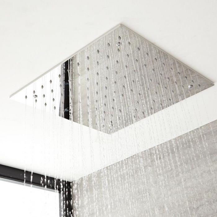 Milano Arvo - Modern 400mm Square Recessed Shower Head - Chrome