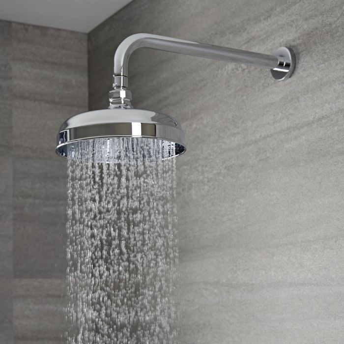 Milano Elizabeth - 205mm Traditional Apron Shower Head with Wall Arm - Chrome