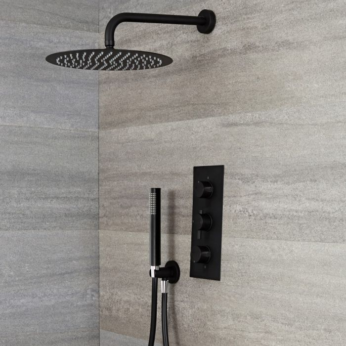 Milano Nero - Black Thermostatic Shower with Round Shower Head and Hand Shower (2 Outlet)