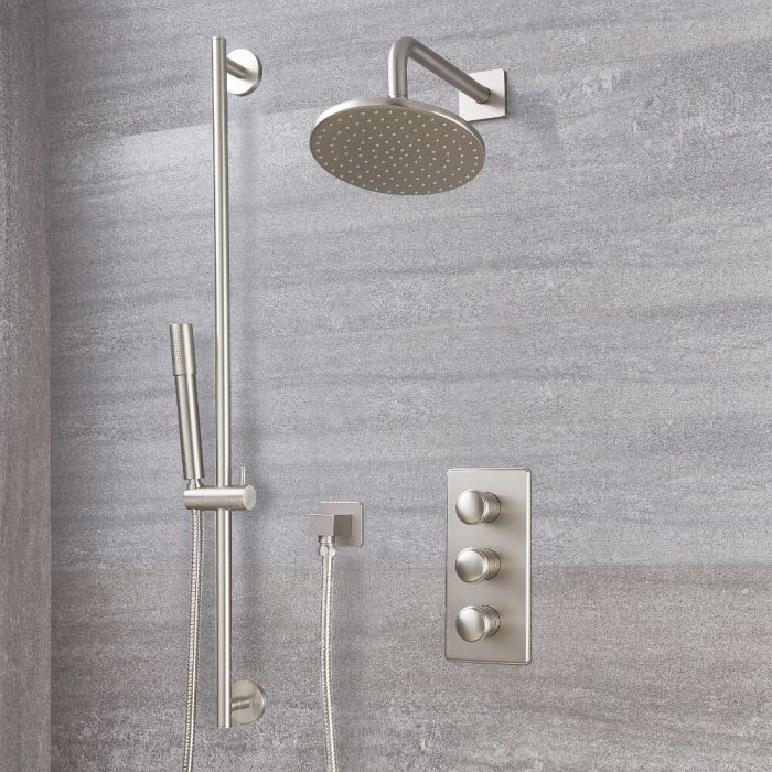 Milano Ashurst - Brushed Nickel Thermostatic Shower with Shower Head, Hand Shower and Riser Rail (2 Outlet)