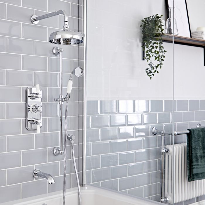 Milano Elizabeth - Chrome and White Traditional Thermostatic Shower with Diverter, Shower Head, Bath Spout and Riser Rail (3 Outlet)