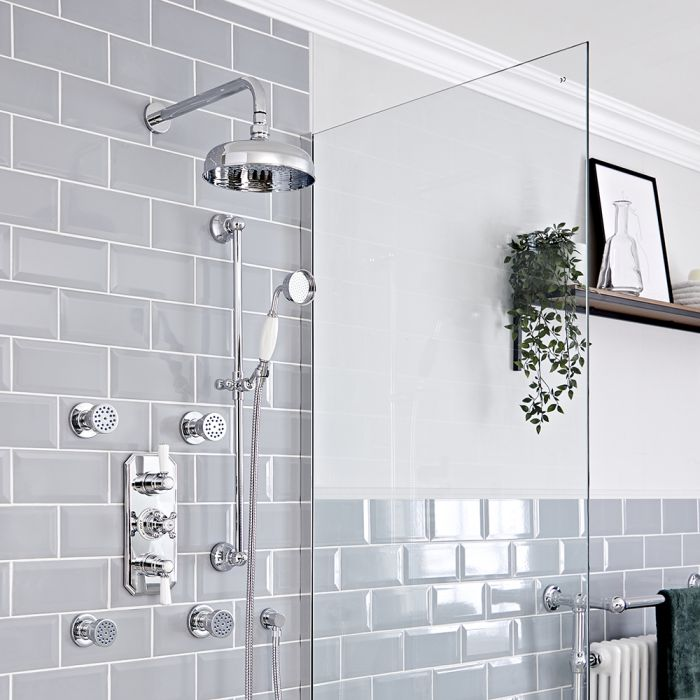 Milano Elizabeth - Chrome and White Traditional Thermostatic Shower with Diverter, Shower Head, Body Jets and Riser Rail (3 Outlet)