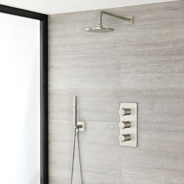 Milano Ashurst - Brushed Nickel Thermostatic Shower with Shower Head and Hand Shower (2 Outlet)