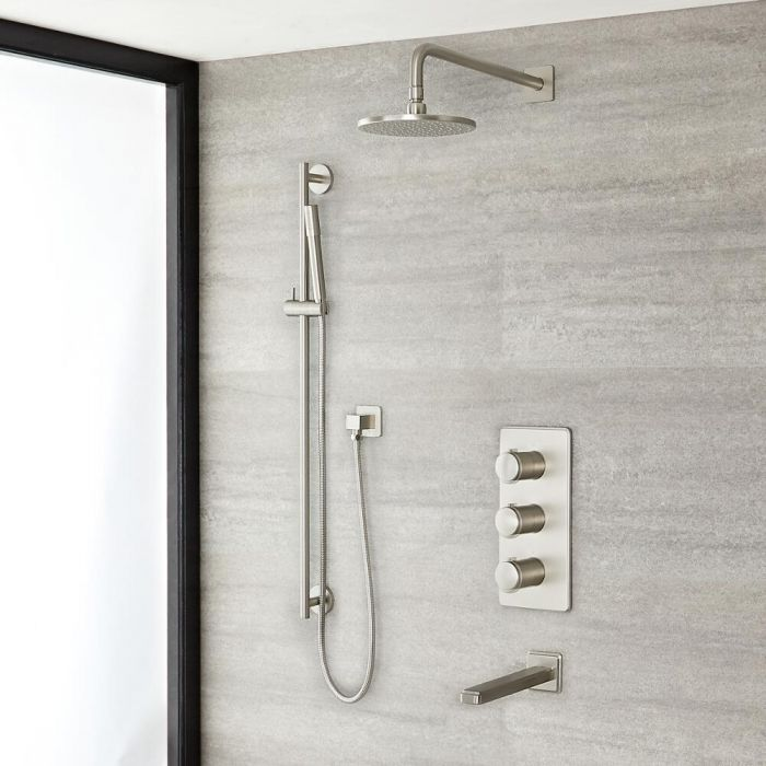 Milano Ashurst - Triple Diverter Thermostatic Shower Valve, 200mm Round Head, Riser Rail Kit and Spout - Brushed Nickel