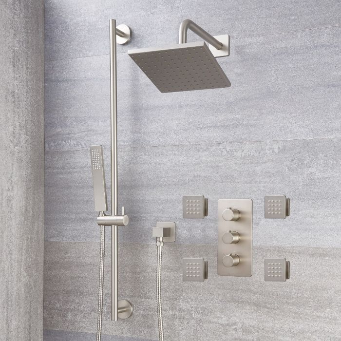 Milano Hunston - Brushed Nickel Thermostatic Shower with Diverter, Shower Head, Hand Shower, Body Jets and Riser Rail (3 Outlet)